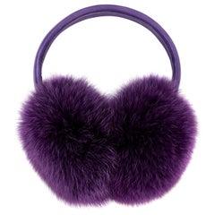 Verheyen London Ear Muffs in Amethyst Purple Fox Fur