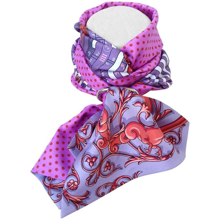 Hermès Silk Scarf Maxi Twilly Cut Astrologie Pois (Dies et Hore) Parma In Box For Sale