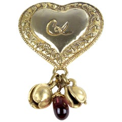 Christian Lacroix Heart Gold-Tone Perfume Holder Brooch with Charms, late 1980s