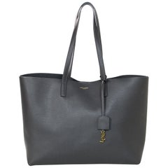 Yves Saint Laurent Storm Grey Leather Tote Bag w/ YSL Clochette & Insert