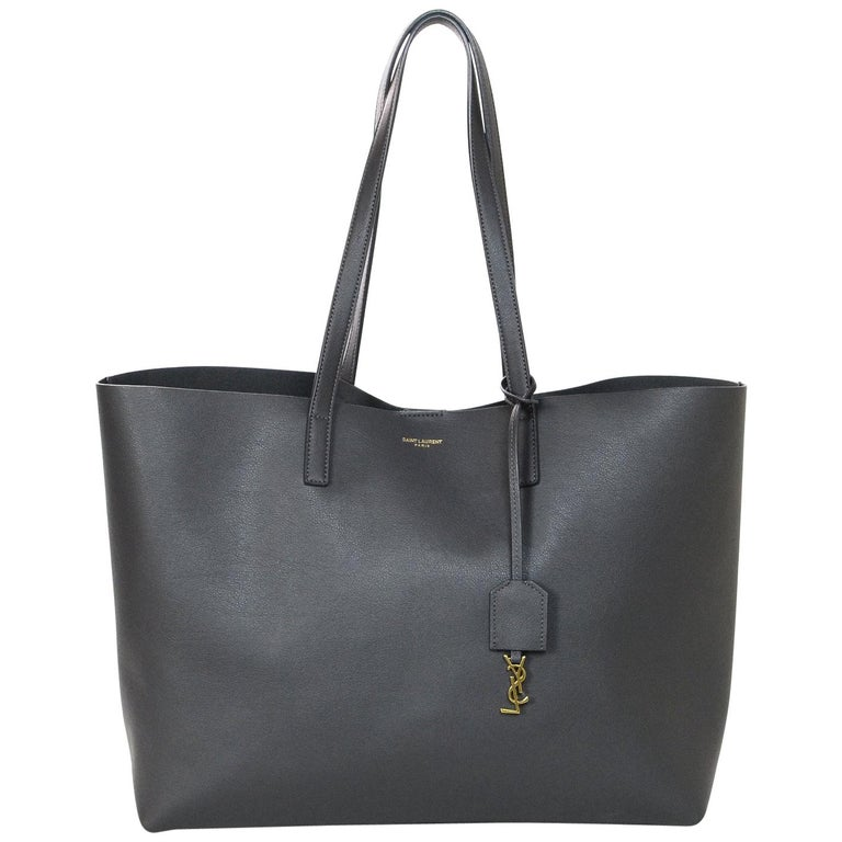 1ee3a594150 Yves Saint Laurent Storm Grey Leather Tote Bag w/ YSL Clochette & Insert  For Sale