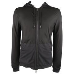Men's LANVIN L Black Jersey Silk Overlay Hoodie Zip Jacket