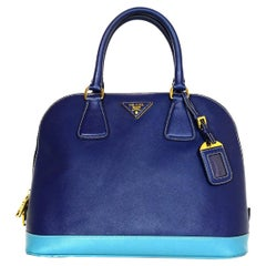 Prada Bluette/Turchese Blue Saffiano Lux Bi Color Promenade Dome Tote Bag
