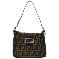 Fendi Brown Zucca Monogram Flap Bag W/ FF Logo Buckle