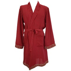 New VERSACE Belted Red Silk Robe for Men