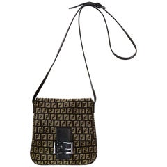 37c5d6554ecc Fendi Brown Monogram Zucca Canvas Crossbody Bag