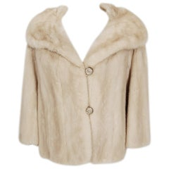 1960's Adrian Thal Couture Creme Mink-Fur Portrait Collar Cropped Bolero Jacket