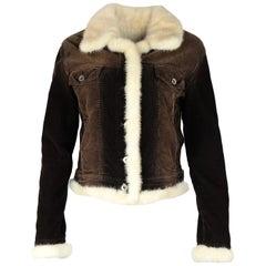 Union Trade Brown Corduroy Jacket W/ Cream Mink Collar & Lining Sz S