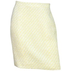 Chanel Yellow/White Tweed Skirt W/ Back CC Buttons Sz 6