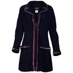 Chanel Vintage 1997 Navy Boucle Zip Up Jacket W/ Velvet Trim Sz 44