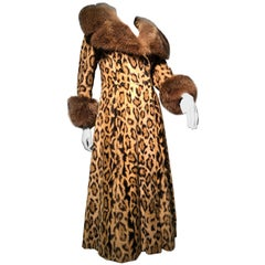 1970s Full Length Faux-Leopard Princess Coat W/ Genuine Fur Collar & Cuffs
