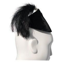 1950s Raymond Hudd Black Velvet Hat W/ Egret Feather and Rhinestone Tassel