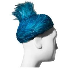 1960s Exuberant Azure Blue Feather Cocktail Hat