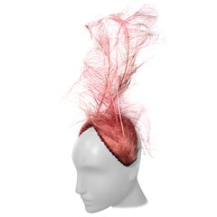 1958 Bes-Ben Over-The-Top Pink Singed Ostrich Feather Headdress W/ Crystals