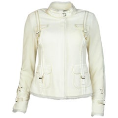 St. John Couture Cream Zip Up Jacket W/ Silk Trim & Pockets Sz 2
