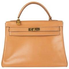 HERMES Naturel Box leather & Gold KELLY I 32 RETOURNER Bag