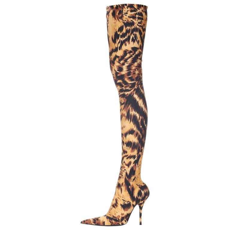 3a18f901a Balenciaga NEW Animal Print Gold Black Thigh High Sock Boots Heels in Box  For Sale