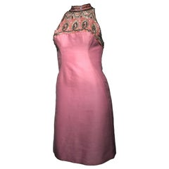 1960s Mr. Blackwell Pink Wool & Silk Blend Sheath Dress W/ Beaded Sequined Neck