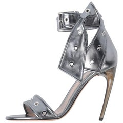 Alexander McQueen NEW Silver Leather Ankle Tie Evening Sandals Heels in Box