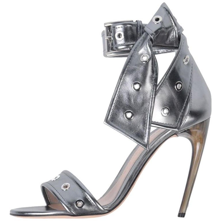 Alexander McQueen NEW Silver Leather Ankle Tie Evening Sandals Heels in Box For Sale