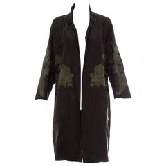 Dries Van Noten Black Cotton Brocade With Green Floral Embroidery Duster Coat