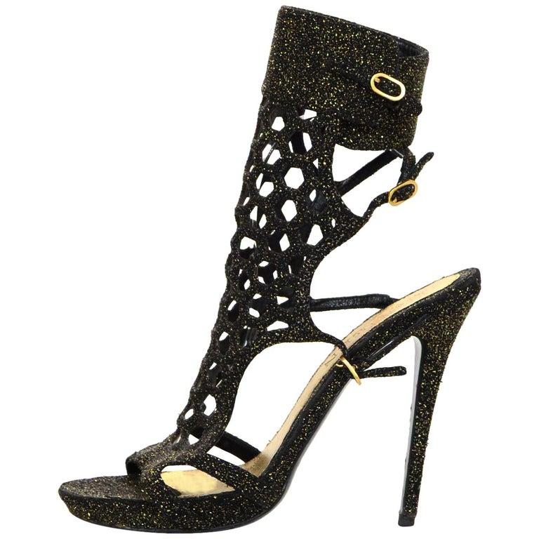 2f58ccf87dd7 Alexander McQueen Black Gold Metallic Caged High Heel Sandals Sz 40 For Sale
