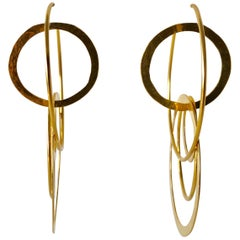 French Architectural Gold Hoop Statement Earrings