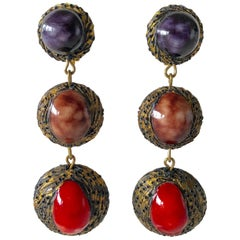 French Red and Purple Architectural Statement Drop Earrings