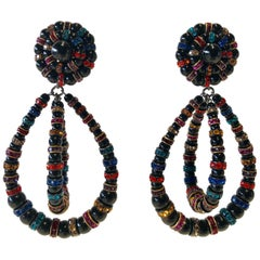 French Designer Architectural Multi-Color Statement Earrings