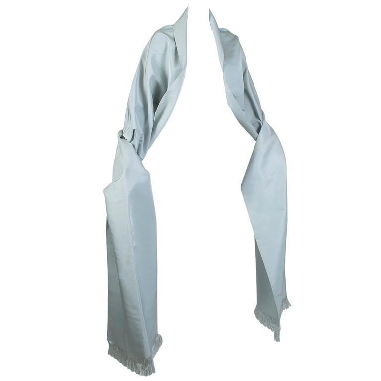 Gustave Tassell Robin's Egg Blue Silk Fringed Wrap Shawl - One Size, 1960s For Sale