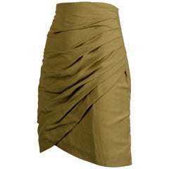1990s Byblos Vintage Olive Green Asymmetric Ruched Stretch Linen Pencil Skirt