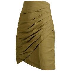 1990s Byblos Vintage Olive Green Asymmetric Ruched Stretch Linen Pencil Skirt