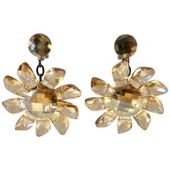 Vintage French Champagne Flower Statement Earrings
