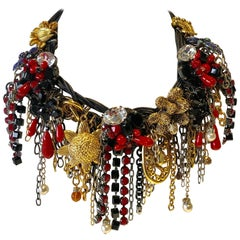 "French Mix Metal and Leather Diamanté Statement Necklace ""Collier"""