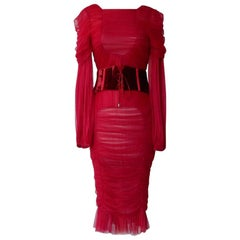 Tom Ford Bergdorf Ad Campaign Cherry Red Ruched Evening Dress  New!