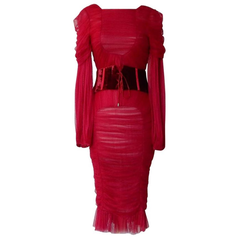 Tom Ford Bergdorf Ad Campaign Cherry Red Ruched Evening Dress  New! For Sale