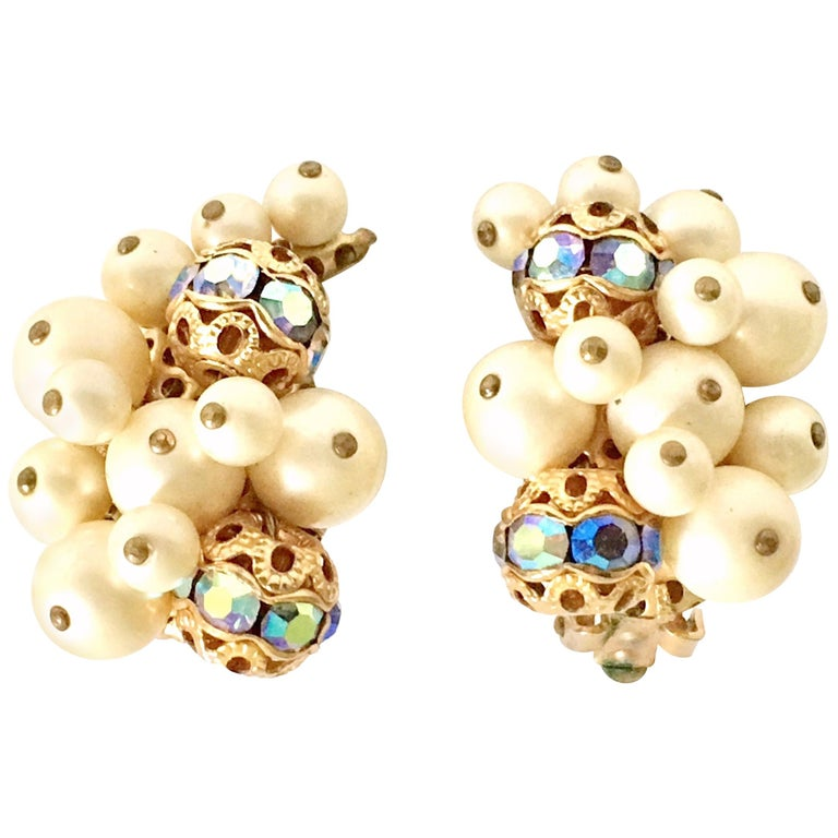 50'S Gold Faux Pearl Bead & Swarovski Crystal Earrings By, Kramer For Sale
