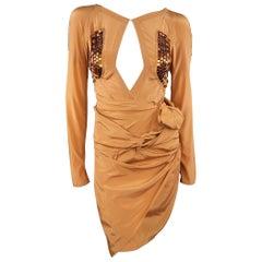 GUCCI - Spring 2005 Runway -Size 4 Tan Jeweled Bust Cutout Draped Cocktail Dress
