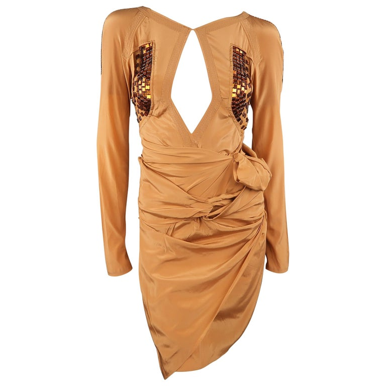 d0219d23d GUCCI - Spring 2005 Runway -Size 4 Tan Jeweled Bust Cutout Draped Cocktail  Dress For
