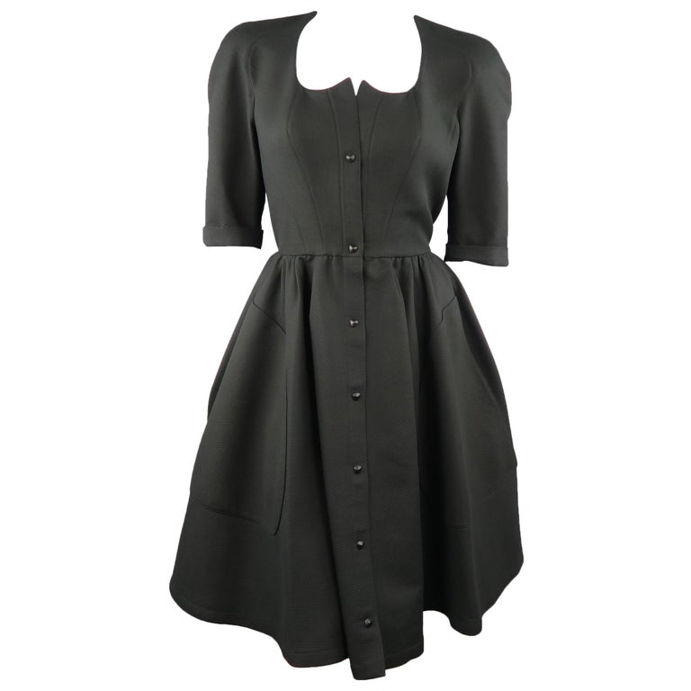 9936dd77caefb THIERRY MUGLER Size 8 Black Textured Cotton 3/4 Sleeve Shirt Dress For Sale