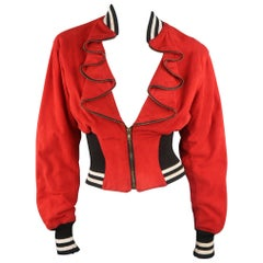 BYRON LARS Size S Red Suede Ruffled Zipper Lapel Varsity Baseball Jacket