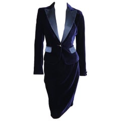 LES COPAINS Size 6 Navy Velvet Satin Peak Lapel Pencil Skirt Suit