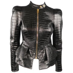"TOM FORD Size 4 Black Alligator Croc Embossed ""SCUBA"" Peplum Leather Moto Jacket"