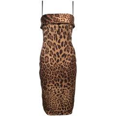 Dolce and Gabbana Brown Leopard Printed Satin Sheath Dress S