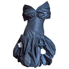 1980s Bill Blass Flower Applique Dress