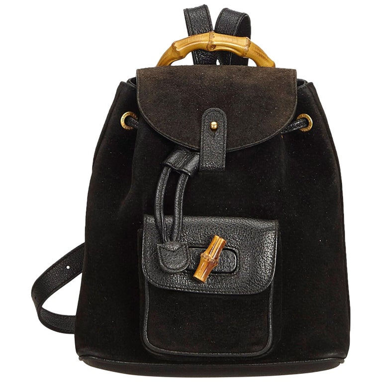 64f09454fd2d Gucci Black Bamboo Suede Drawstring Backpack For Sale at 1stdibs