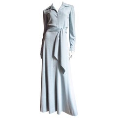 1970s Halston Baby Blue Cashmere Maxi Dress