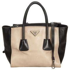 Prada Brown x Black Calf Leather Twin Pocket Tote