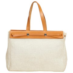 Hermes White x Ivory x Brown Herbag Cabas MM