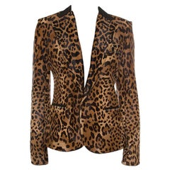 Ralph Lauren Brown Calf Hair Leopard Print Selma Blazer M